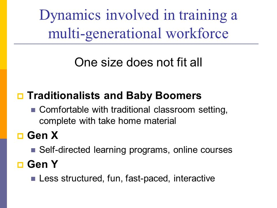Dynamics involved in training a multi-generational workforce One size does not fit all  Traditionalists and Baby Boomers Comfortable with traditional classroom setting, complete with take home material  Gen X Self-directed learning programs, online courses  Gen Y Less structured, fun, fast-paced, interactive