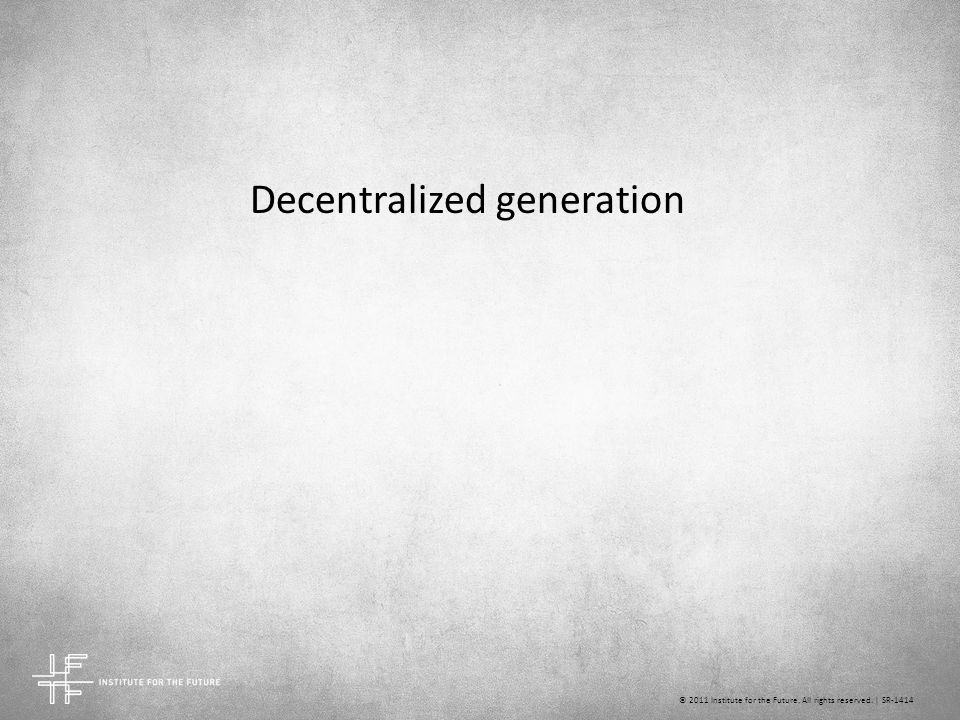 Decentralized generation