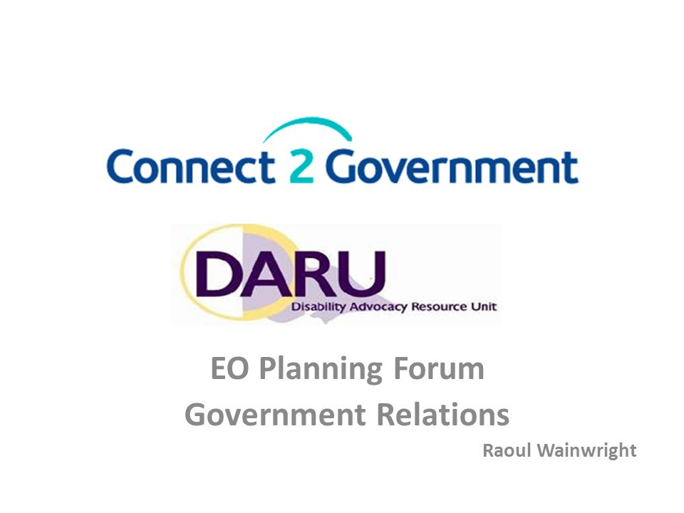 EO Planning Forum Government Relations Raoul Wainwright