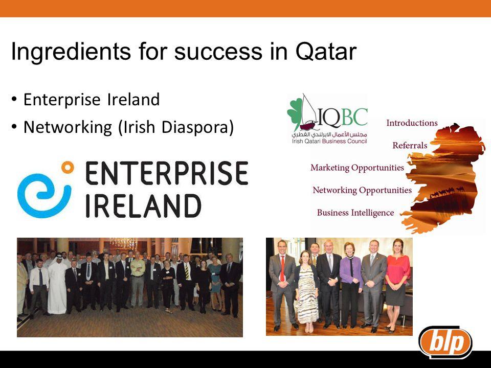 Ingredients for success in Qatar Enterprise Ireland Networking (Irish Diaspora)