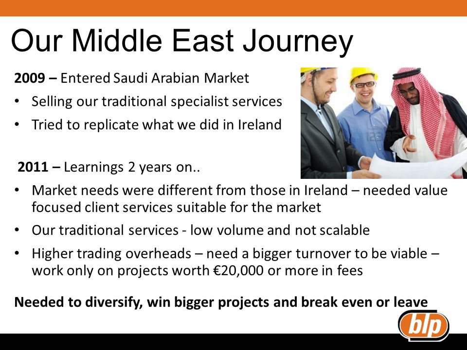 Our Middle East Journey 2009 – Entered Saudi Arabian Market Selling our traditional specialist services Tried to replicate what we did in Ireland 2011 – Learnings 2 years on..