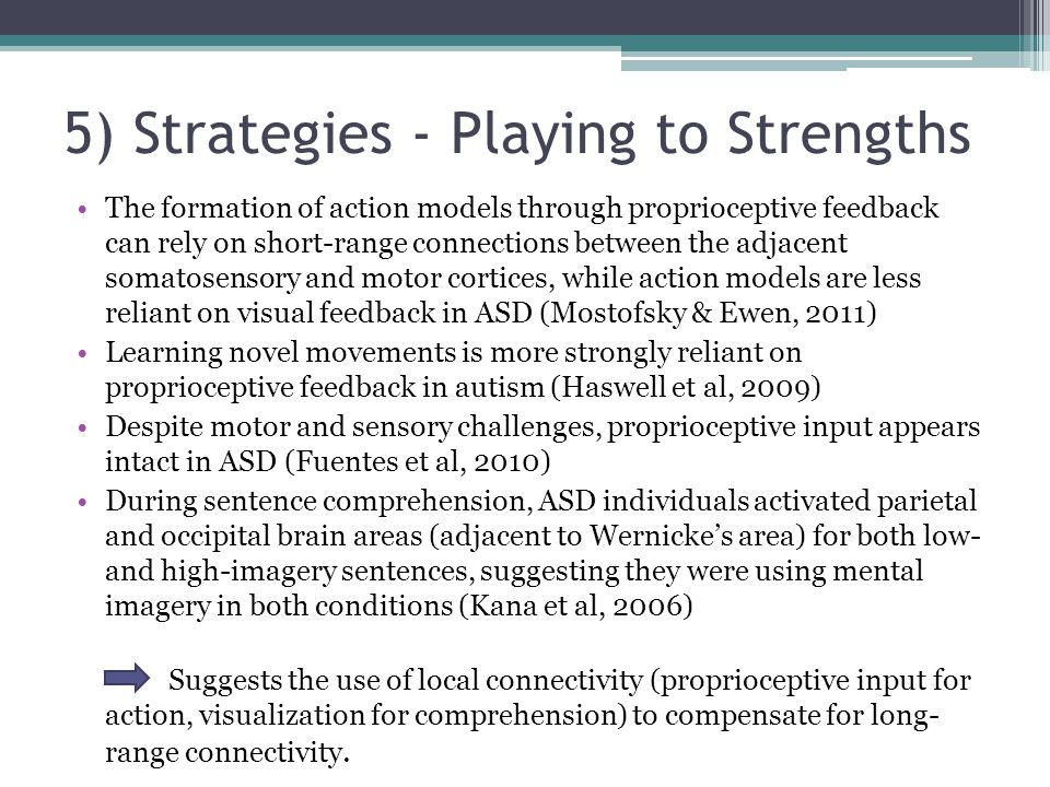 5) Strategies - Playing to Strengths The formation of action models through proprioceptive feedback can rely on short-range connections between the ad