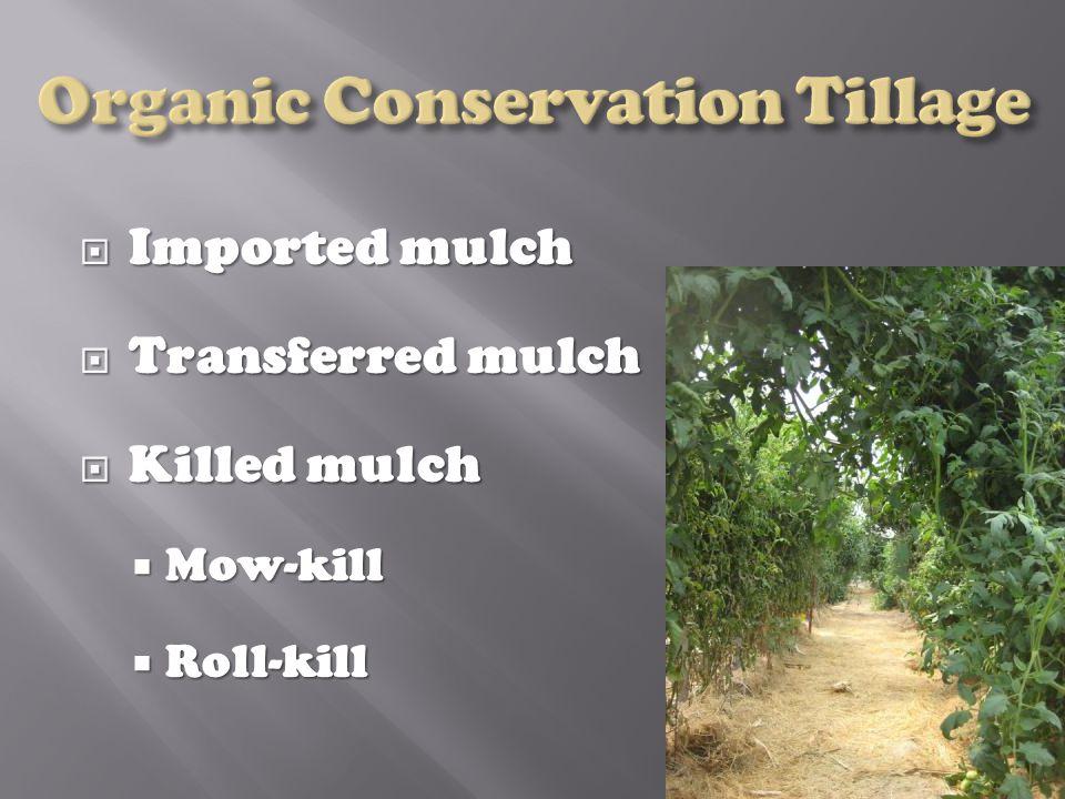  Imported mulch  Transferred mulch  Killed mulch  Mow-kill  Roll-kill