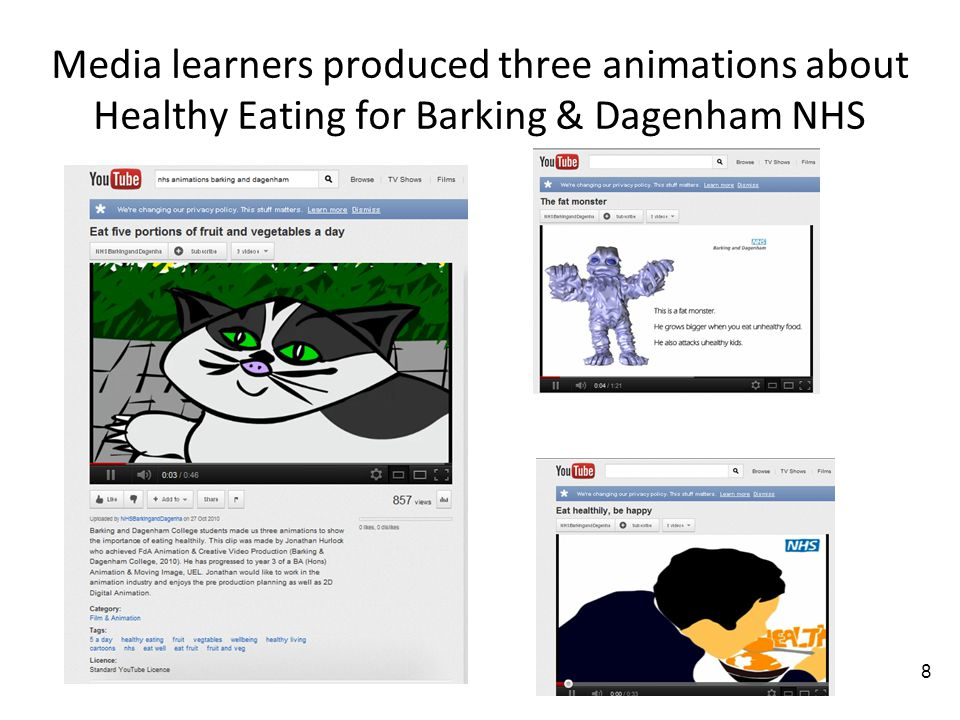 8 Media learners produced three animations about Healthy Eating for Barking & Dagenham NHS