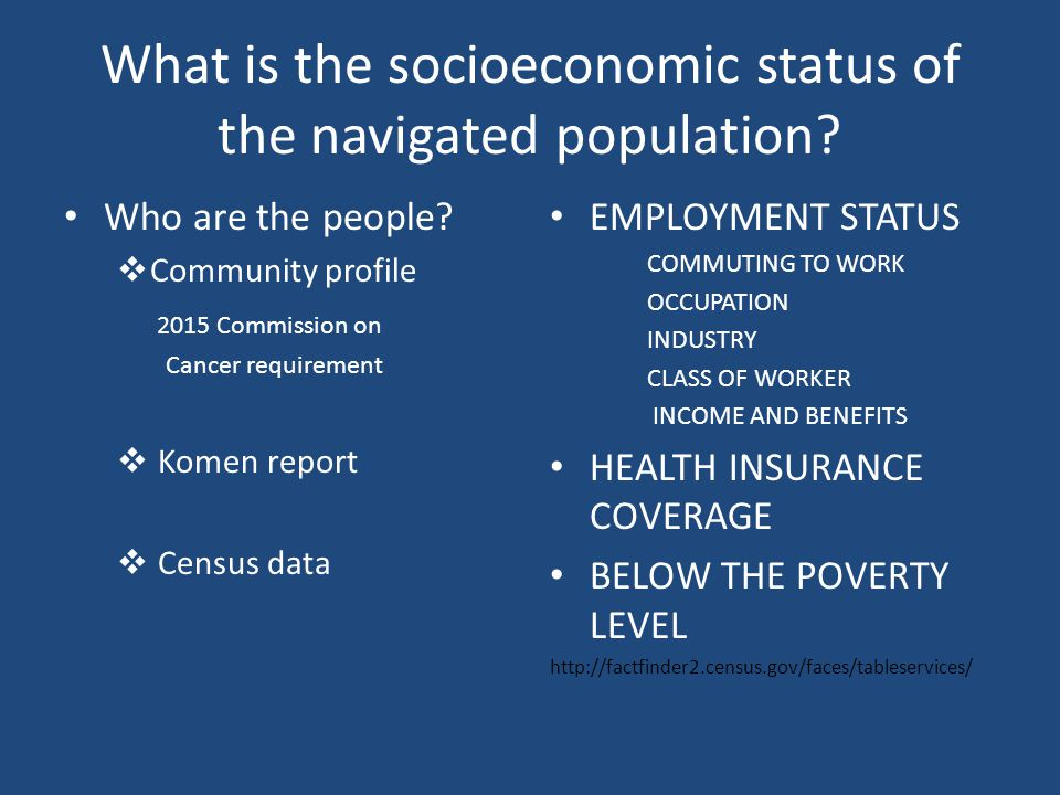 What is the socioeconomic status of the navigated population.