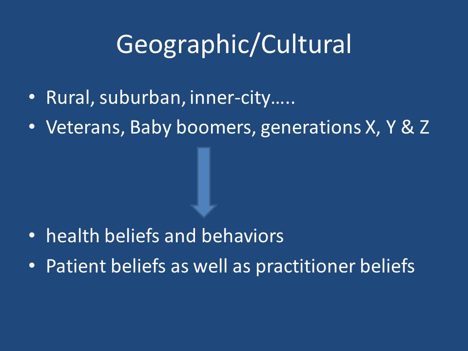 Geographic/Cultural Rural, suburban, inner-city…..