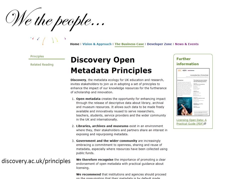 We the people… discovery.ac.uk/principles
