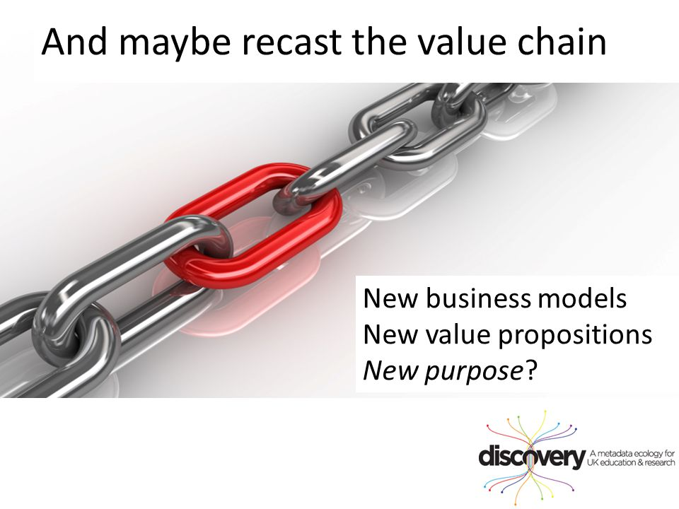 And maybe recast the value chain New business models New value propositions New purpose