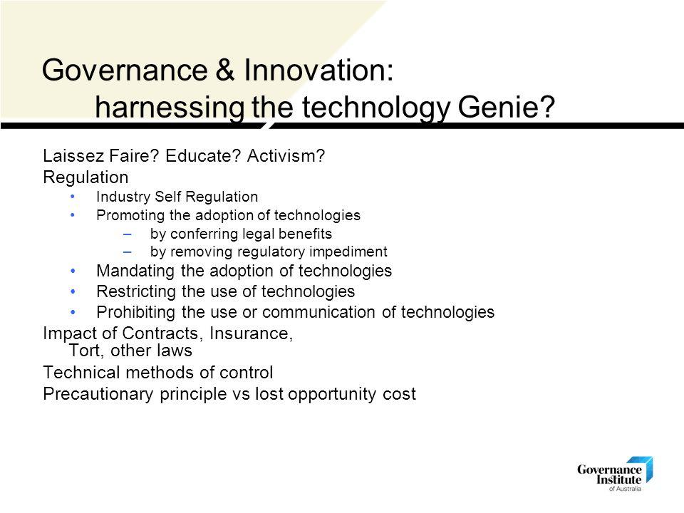 Governance & Innovation: harnessing the technology Genie.
