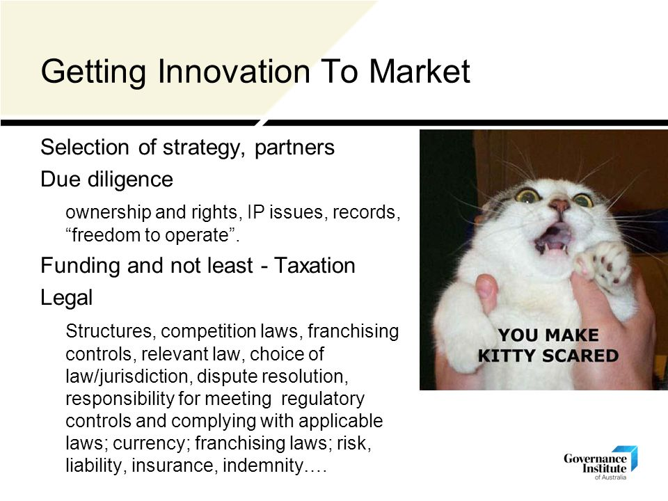 Getting Innovation To Market Selection of strategy, partners Due diligence ownership and rights, IP issues, records, freedom to operate .