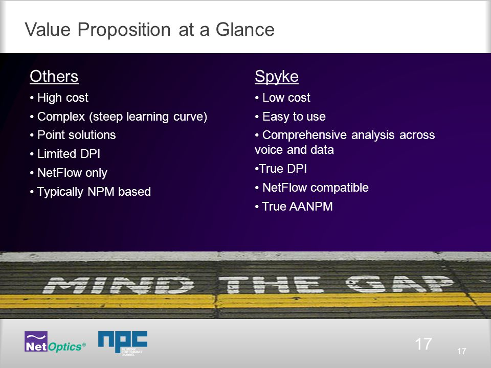 17 Value Proposition at a Glance 17 Others High cost Complex (steep learning curve) Point solutions Limited DPI NetFlow only Typically NPM based Spyke Low cost Easy to use Comprehensive analysis across voice and data True DPI NetFlow compatible True AANPM