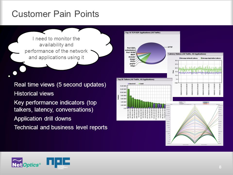 88 Customer Pain Points Real time views (5 second updates) Historical views Key performance indicators (top talkers, latency, conversations) Application drill downs Technical and business level reports I need to monitor the availability and performance of the network and applications using it