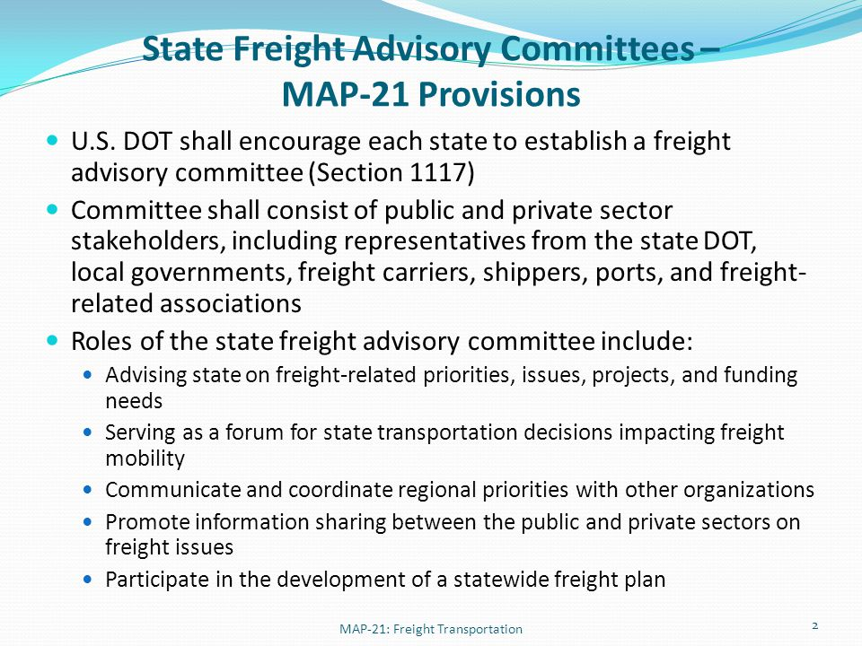 State Freight Advisory Committees – Who Should Participate.