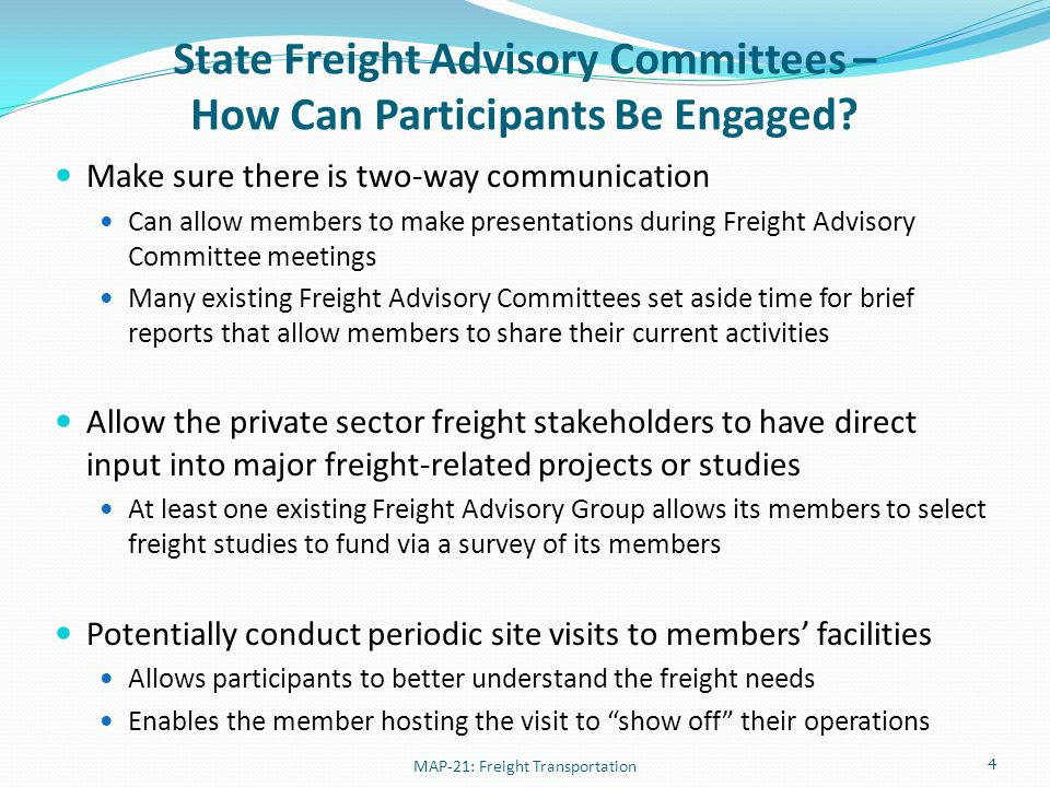State Freight Advisory Committees – Existing Guidance Resources Reach out to other states or MPOs in your state that have existing Freight Advisory Committees National Highway Institute courses Engaging the Private Sector in Freight Planning (NHI 139009) Integrating Freight into the Transportation Planning Process (NHI 139006) Advanced Freight Planning (NHI 139003) Other courses/resources Financing Freight Improvements (FHWA Freight Office course) MAP-21: Freight Transportation 5