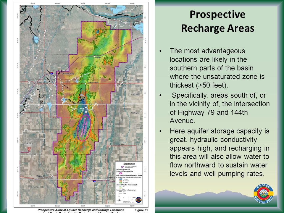 Prospective Recharge Areas The most advantageous locations are likely in the southern parts of the basin where the unsaturated zone is thickest (>50 feet).