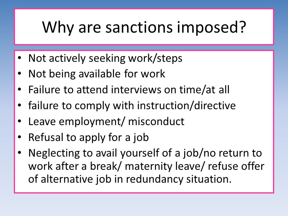 Why are sanctions imposed.