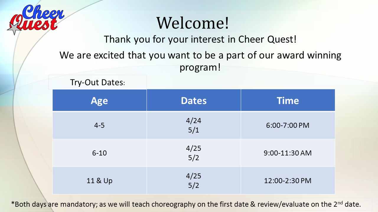 Thank you for your interest in Cheer Quest.