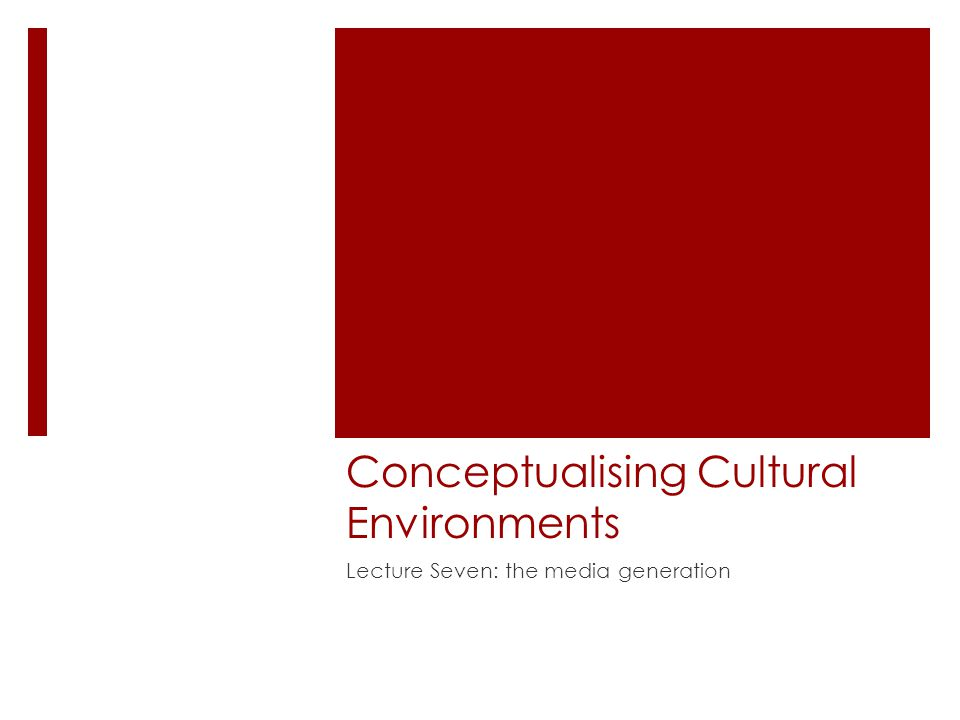 Conceptualising Cultural Environments Lecture Seven: the media generation
