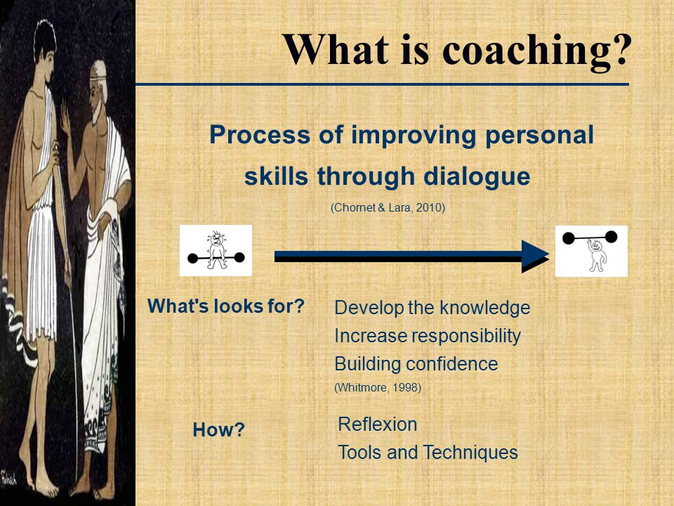 Process of improving personal skills through dialogue (Chornet & Lara, 2010) What is coaching.