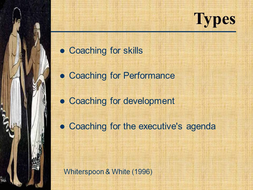 Types Coaching for skills Coaching for Performance Coaching for development Coaching for the executive s agenda Whiterspoon & White (1996)
