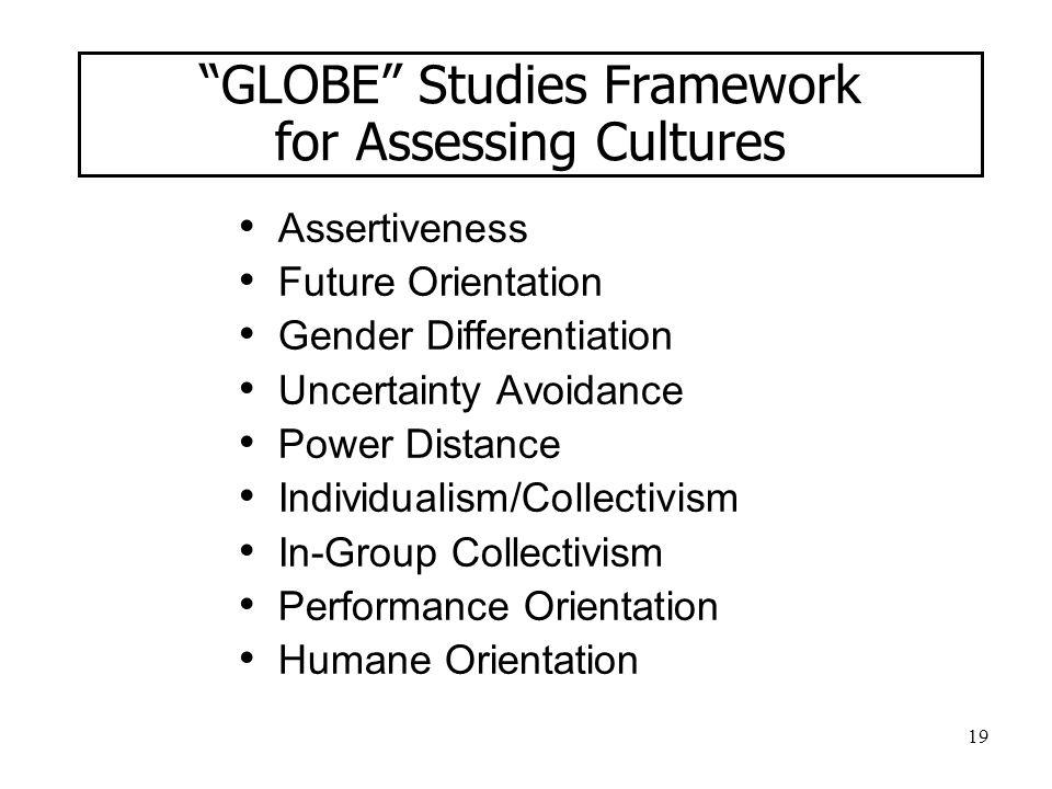 "19 ""GLOBE"" Studies Framework for Assessing Cultures Assertiveness Future Orientation Gender Differentiation Uncertainty Avoidance Power Distance Indiv"