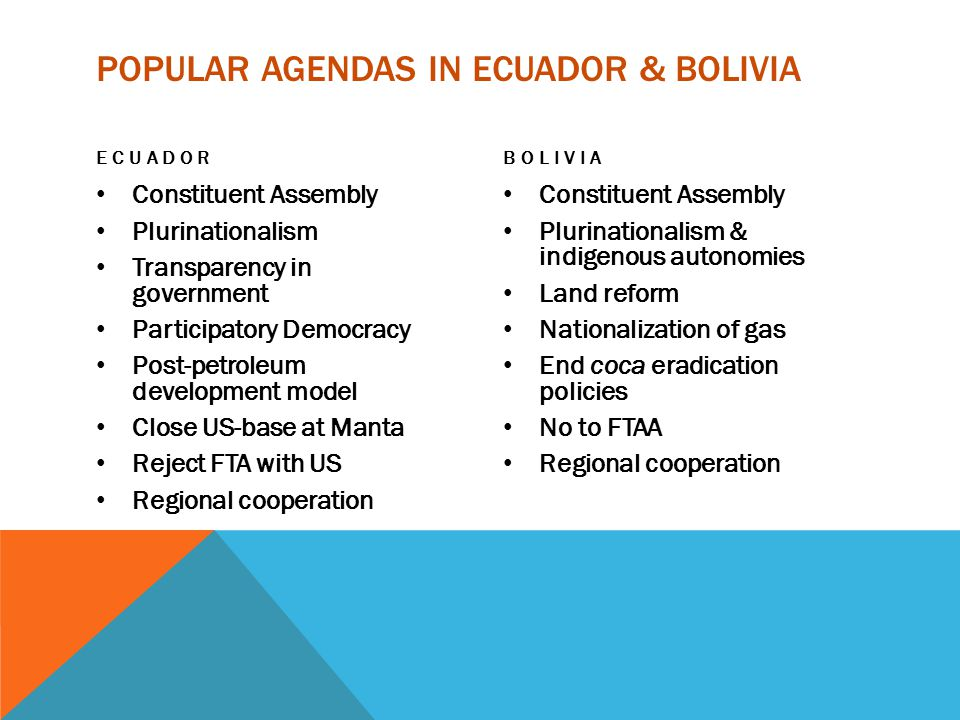POPULAR AGENDAS IN ECUADOR & BOLIVIA ECUADOR Constituent Assembly Plurinationalism Transparency in government Participatory Democracy Post-petroleum development model Close US-base at Manta Reject FTA with US Regional cooperation BOLIVIA Constituent Assembly Plurinationalism & indigenous autonomies Land reform Nationalization of gas End coca eradication policies No to FTAA Regional cooperation