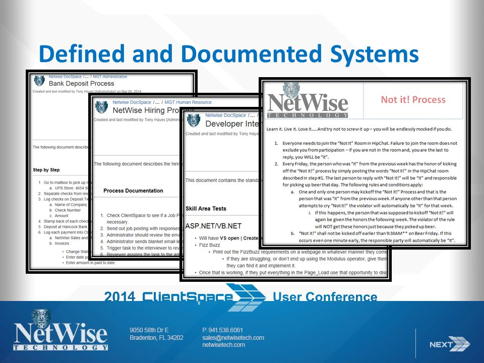 Defined and Documented Systems