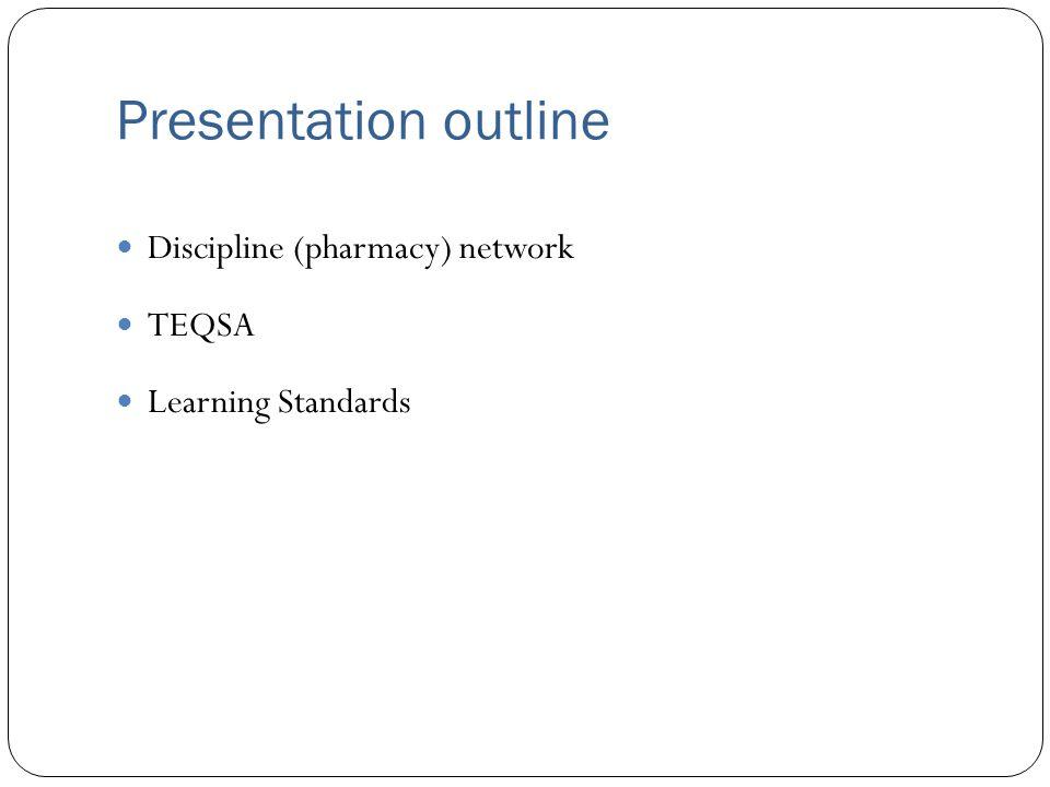 Presentation outline Discipline (pharmacy) network TEQSA Learning Standards