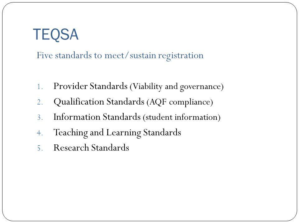 TEQSA Five standards to meet/sustain registration 1.