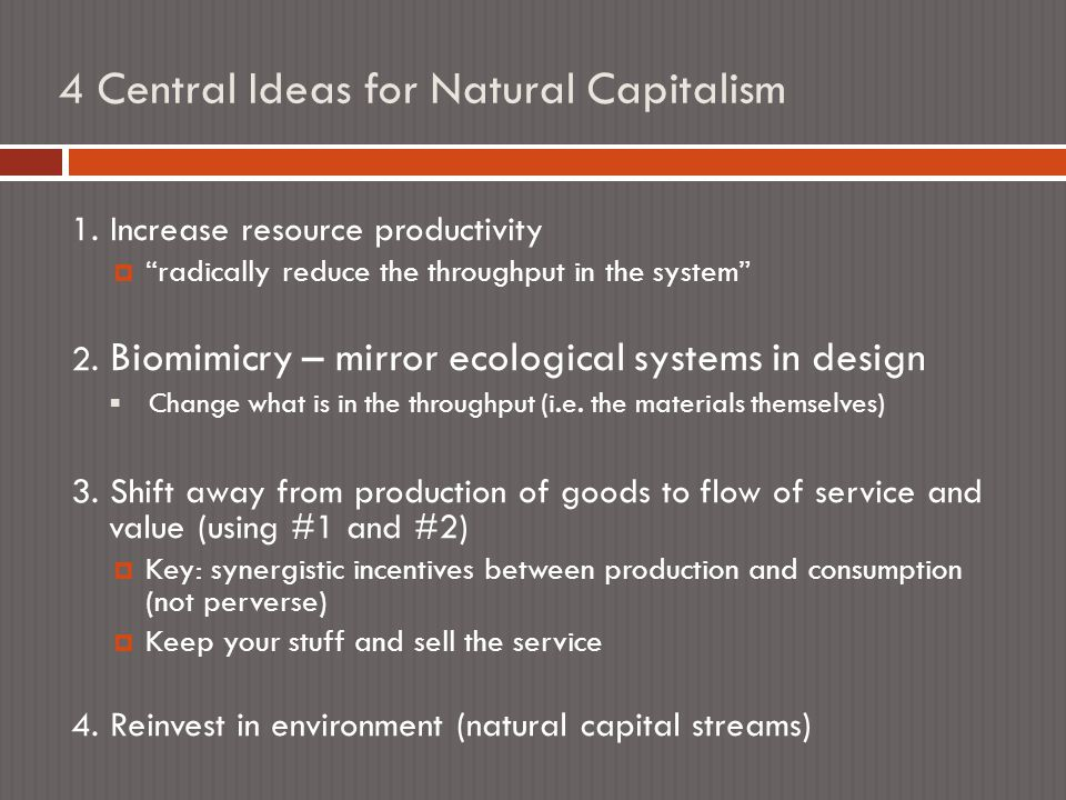 4 Central Ideas for Natural Capitalism 1.