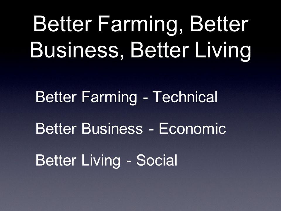 Better Farming, Better Business, Better Living Better Farming - Technical Better Business - Economic Better Living - Social