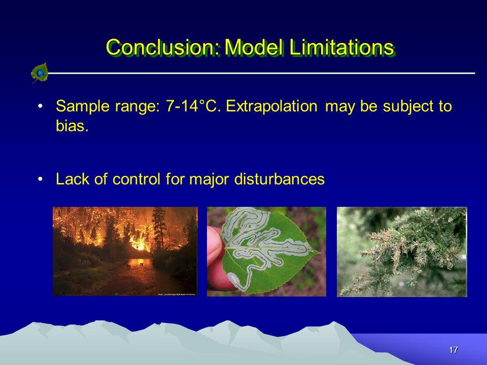 17 Conclusion: Model Limitations Sample range: 7-14°C.