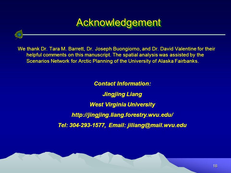 18 AcknowledgementAcknowledgement We thank Dr. Tara M.