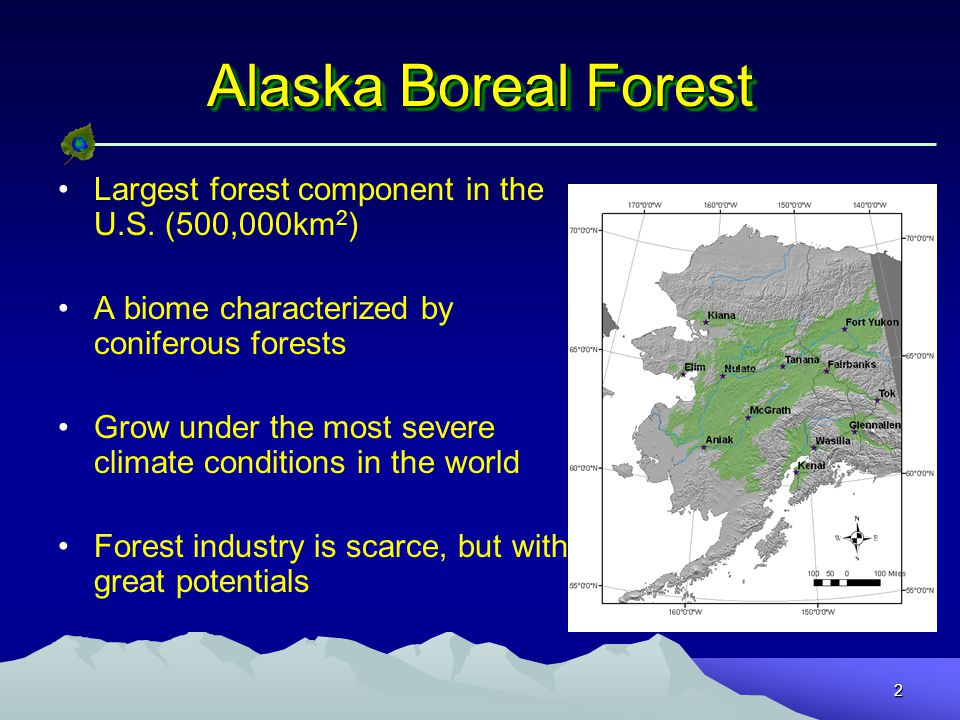 2 Alaska Boreal Forest Largest forest component in the U.S.