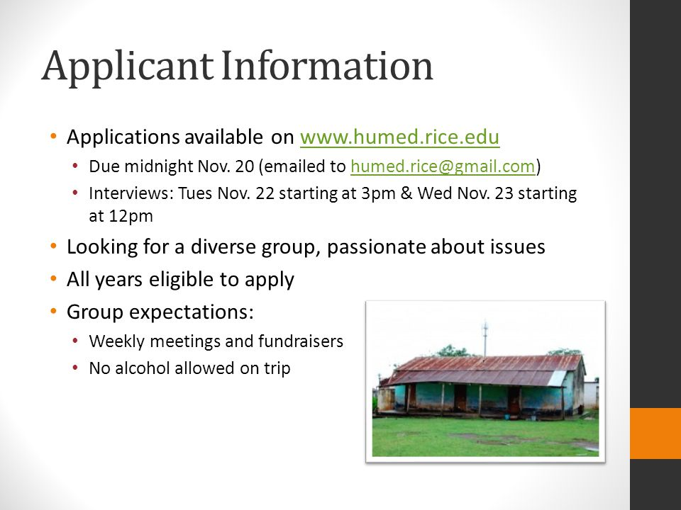 Applicant Information Applications available on   Due midnight Nov.