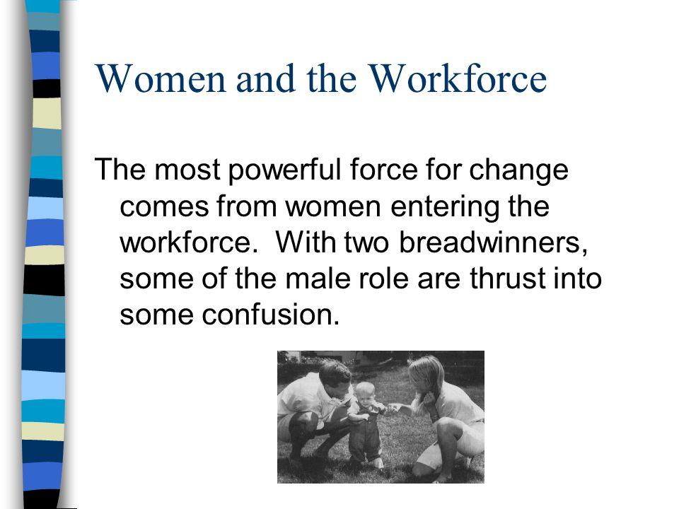 Women and the Workforce The most powerful force for change comes from women entering the workforce.