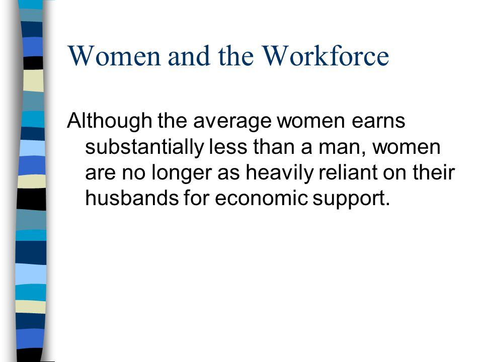 Women and the Workforce Although the average women earns substantially less than a man, women are no longer as heavily reliant on their husbands for economic support.