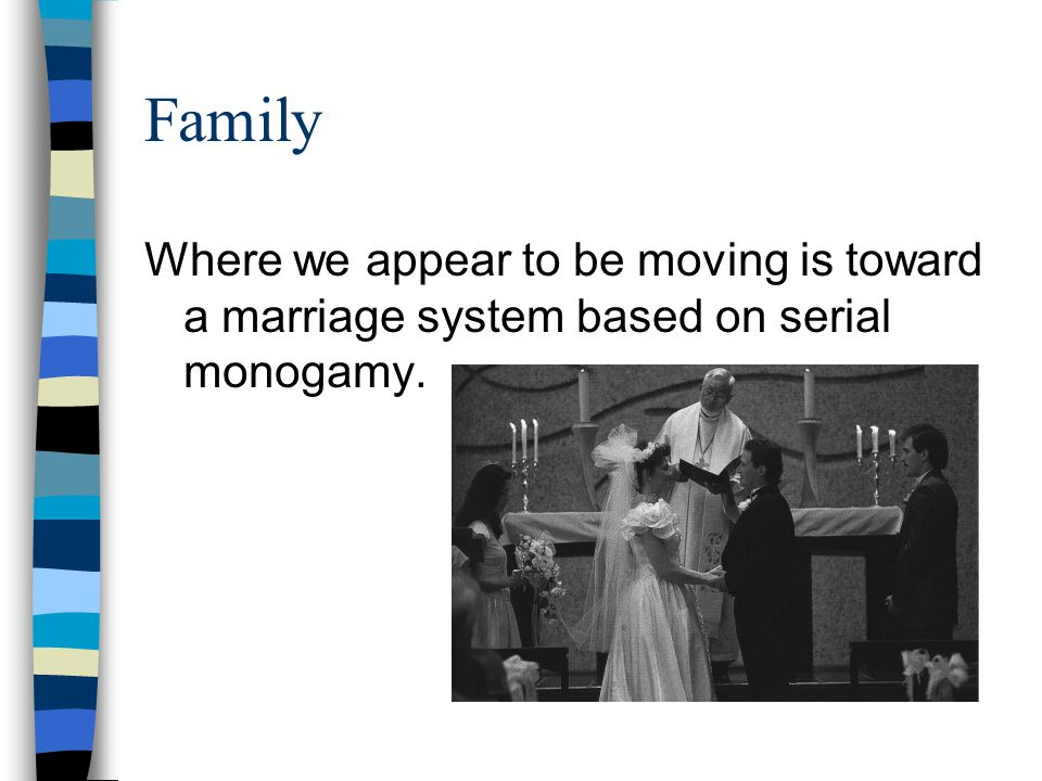 Family Where we appear to be moving is toward a marriage system based on serial monogamy.