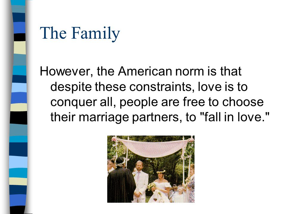 LUV This emphasis on love would seem strange to many people of the world, where the choice of one s spouse is often dictated by considerations of family, wealth, and other domestic considerations taking precedence over love.