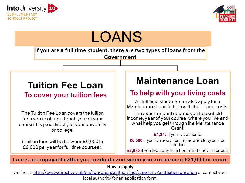 LOANS If you are a full time student, there are two types of loans from the Government Maintenance Loan To help with your living costs All full-time students can also apply for a Maintenance Loan to help with their living costs.