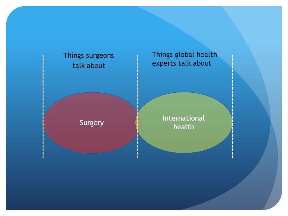 Surgery International health Things surgeons talk about Things global health experts talk about