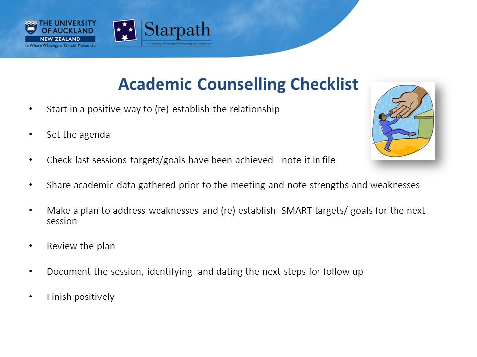 Academic Counselling Checklist Start in a positive way to (re) establish the relationship Set the agenda Check last sessions targets/goals have been achieved - note it in file Share academic data gathered prior to the meeting and note strengths and weaknesses Make a plan to address weaknesses and (re) establish SMART targets/ goals for the next session Review the plan Document the session, identifying and dating the next steps for follow up Finish positively