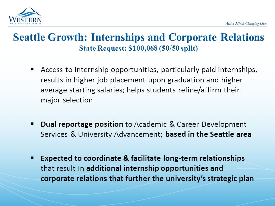 Seattle Growth: Internships and Corporate Relations State Request: $100,068 (50/50 split)  Access to internship opportunities, particularly paid internships, results in higher job placement upon graduation and higher average starting salaries; helps students refine/affirm their major selection  Dual reportage position to Academic & Career Development Services & University Advancement; based in the Seattle area  Expected to coordinate & facilitate long-term relationships that result in additional internship opportunities and corporate relations that further the university's strategic plan
