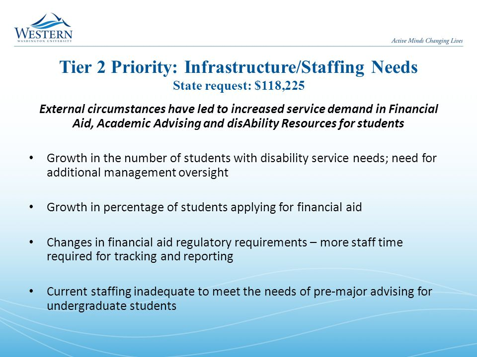 Tier 2 Priority: Infrastructure/Staffing Needs State request: $118,225 External circumstances have led to increased service demand in Financial Aid, Academic Advising and disAbility Resources for students Growth in the number of students with disability service needs; need for additional management oversight Growth in percentage of students applying for financial aid Changes in financial aid regulatory requirements – more staff time required for tracking and reporting Current staffing inadequate to meet the needs of pre-major advising for undergraduate students