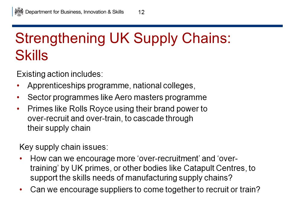 Strengthening UK Supply Chains: Skills 12 Existing action includes: Apprenticeships programme, national colleges, Sector programmes like Aero masters