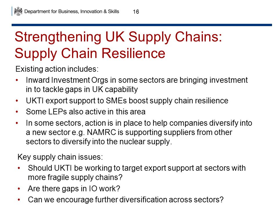 Strengthening UK Supply Chains: Supply Chain Resilience 16 Existing action includes: Inward Investment Orgs in some sectors are bringing investment in