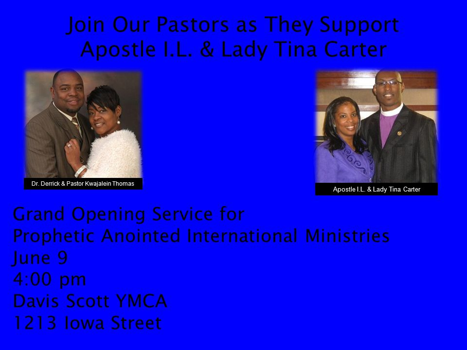 Join Our Pastors as They Support Apostle I.L.