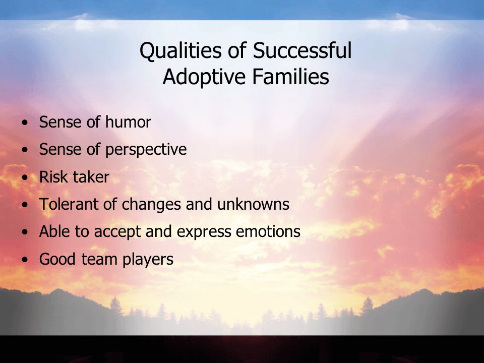 Qualities of Successful Adoptive Families Sense of humor Sense of perspective Risk taker Tolerant of changes and unknowns Able to accept and express emotions Good team players