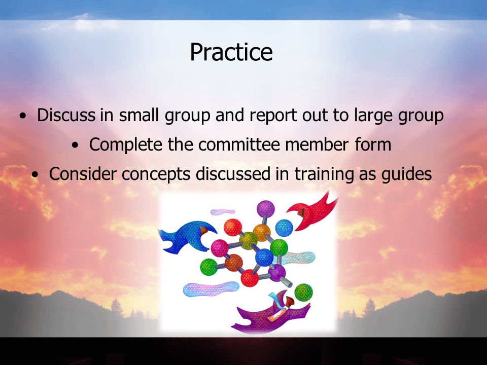 Practice Discuss in small group and report out to large group Complete the committee member form Consider concepts discussed in training as guides