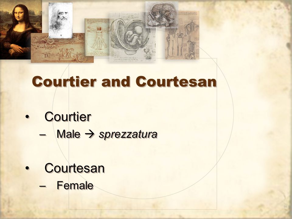 Courtier and Courtesan Courtier –Male  sprezzatura Courtesan –Female Courtier –Male  sprezzatura Courtesan –Female